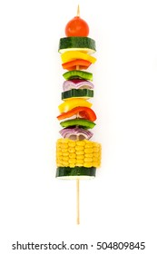 Vegetable skewer isolated on white background