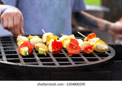 Vegetable skewers. Fresh and delicious barbecue with skewers with vegetables on the grill.