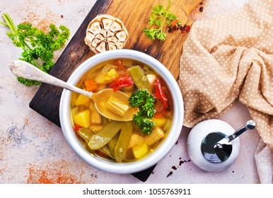 vegetable soup in bowl, stock photo