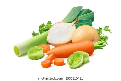 Vegetable soup ingredients. Leek, carrot, potato and onion isolated on white background. Package design element with clipping path