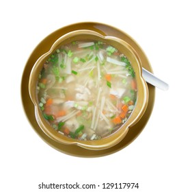 Vegetable soup isolated on white. Clipping path included.