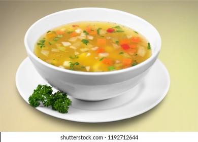 Vegetable soup on a desk
