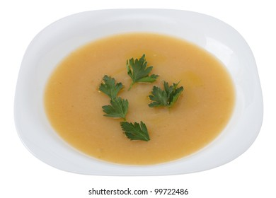 vegetable soup with parsley on the plate