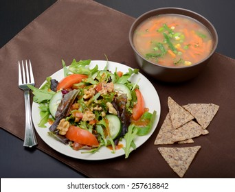 vegetable soup, salad and chips for lunch