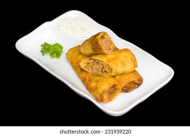 Vegetable Spring Rolls on white plate