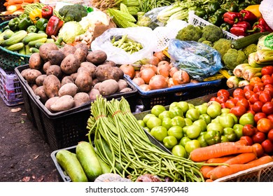 vegetable stall in local market cambodia