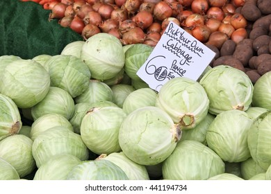 Vegetable stand at a marketplace in Birmingham, United Kingdom. Farmers market.