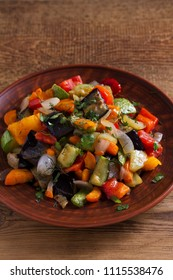 Vegetable stew: eggplant, pepper, tomato, zucchini, carrot and onion. Stewed vegetables