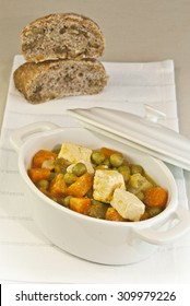 vegetable stew, tofu, carrots, peas, cooked, vegetarian, food, veggie, bread, homemade, soy, oriental, pot, casserole