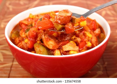 Vegetable Stew (Zucchini, Bell Pepper, Corn, Tomato) with Sausage. Lecho, Lecso, Ratatouille.