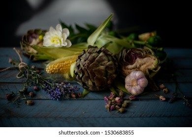 vegetable still life with artichoke