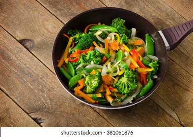 Vegetable stir fry. Healthy food. Top view