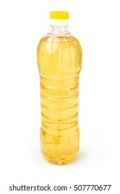 Vegetable or sunflower oil in plastic bottle isolated on white background cutout