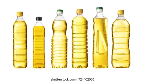 vegetable or sunflower oil in plastic bottle isolated