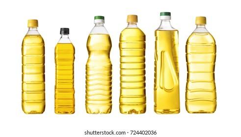 vegetable or sunflower oil in plastic bottle isolated