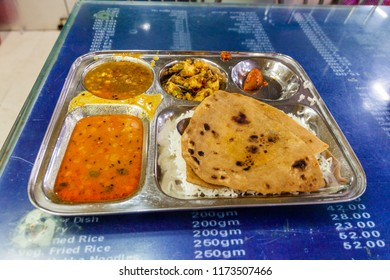 Vegetable Thali in a eatery of Varanasi Junction railway station, India