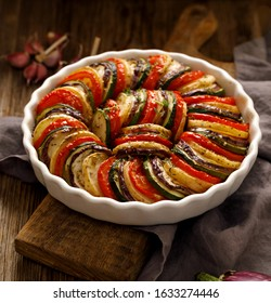 Vegetable tian, Provencal vegetable casserole, delicious and nutritious vegetarian meal, close-up