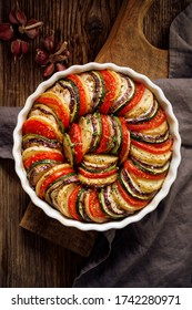 Vegetable tian, Provencal vegetable casserole. Delicious and nutritious traditional vegetarian meal, top view