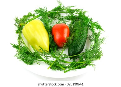 Vegetable: tomato, cucumber, pepper dill isolated on white background