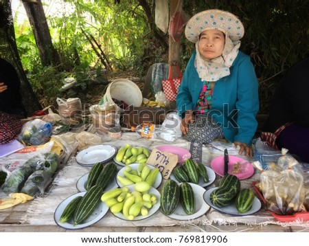 Vegetable Traders Local Market Laos December 7 Stock Photo (Edit Now