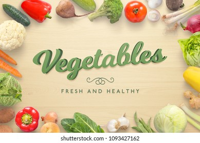 Vegetables 3D text on wooden kitchen table surrounded with fresh vegetables from market.