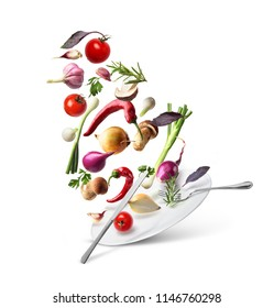 Vegetables in the air with a plate on a white background.Eda.Dieta