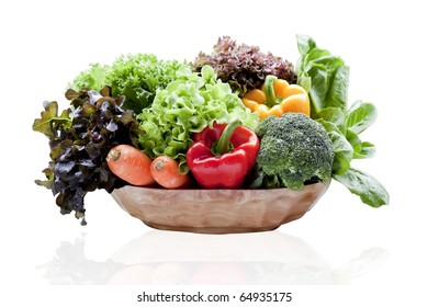 vegetables in basket  isolated