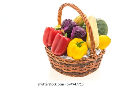 Vegetables basket isolated on white background - Healthy food style