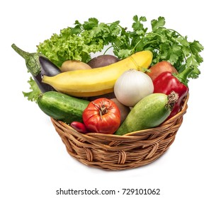 vegetables in a basket on a white background