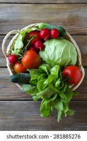 vegetables in basket top view, food