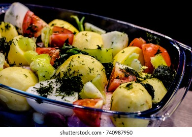 Vegetables before baking