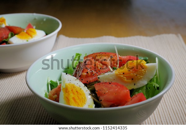 Vegetables and boiled eggs Salad.