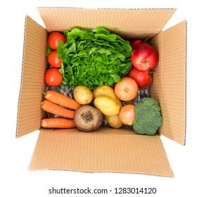 Vegetables  box, delivery box.Fresh fruits vegetables.