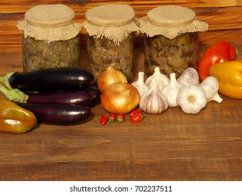 vegetables and canned eggplant on the table