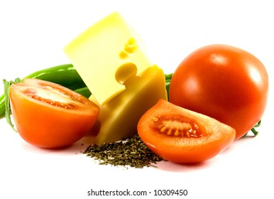 vegetables and cheese on white