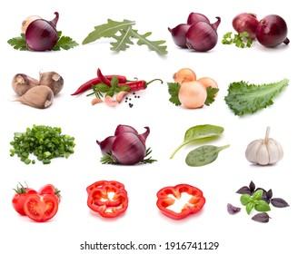 Collection de légumes isolée sur fond blanc. Ensemble de différents légumes crus frais. Ingrédient alimentaire. Concept de nourriture saine.