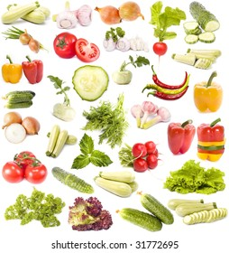 Vegetables collection set close up isolated on white background
