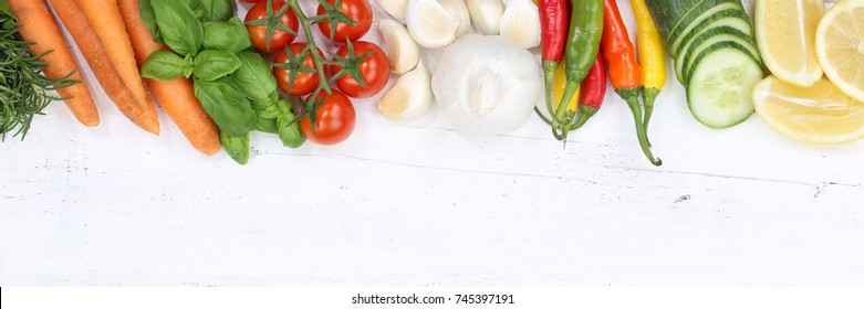 Vegetables collection tomatoes carrots cooking ingredients copyspace banner top view from above