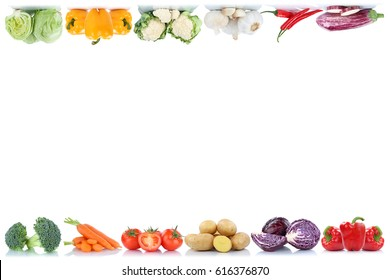 Vegetables copyspace copy space border tomatoes lettuce bell pepper isolated on a white background in a row