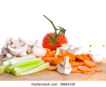 vegetables cut on a board