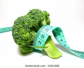 Vegetables diet, detail broccoli with meter