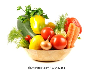 Vegetables and different spice, isolated on a white background