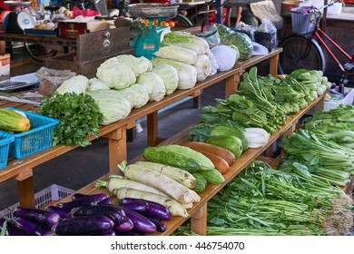 Vegetables displayed on the shelves in Pulau Ketam, Malaysia