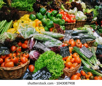 Vegetables at food stall, Borough Market, London, December 2017.