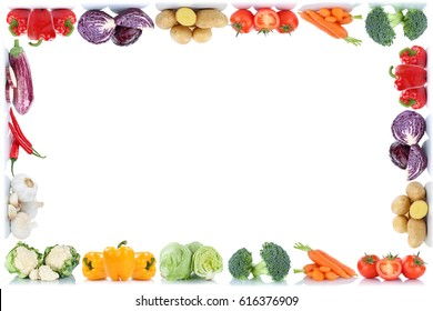 Vegetables frame copyspace copy space border tomatoes lettuce bell pepper isolated on a white background in a row