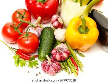 Vegetables. Fresh vegetables. Colorful vegetables background. Healthy vegetable studio photo. Assortment of fresh vegetables close up