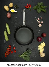 vegetables with fresh ingredients to cook healthy in the pan