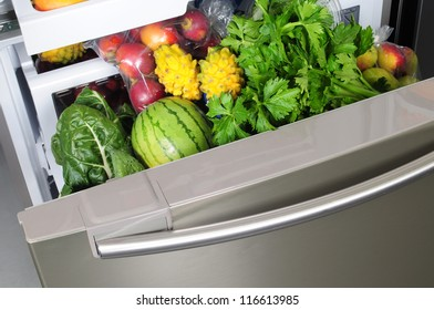 Vegetables in a fridge.