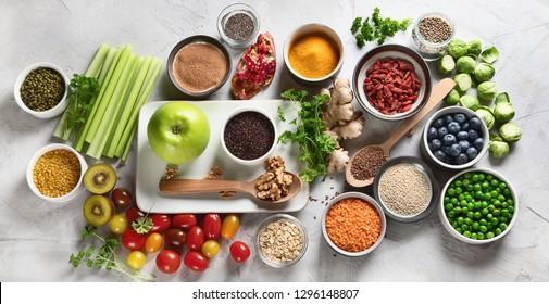 Vegetables, fruit, grain, superfoods for vegan and vegetarian eating. Clean eating. Detox, dieting food concept