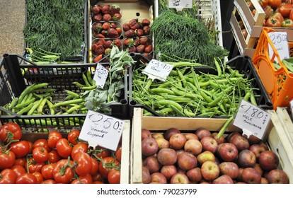 Vegetables and fruit on a supermarket shelf
